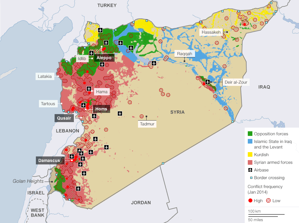 Current areas of control in the Syrian Civil War