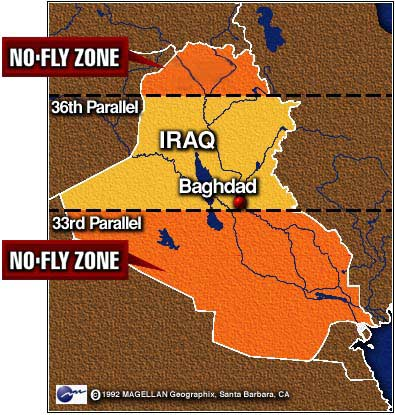 The no-fly zones imposed after the Gulf War