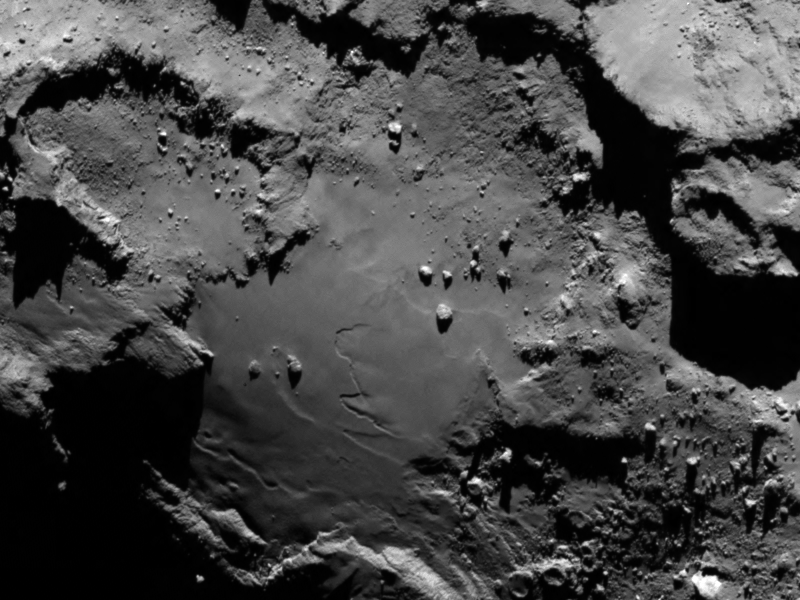 A detail of the comet's surface, taken on August 6th. (ESA/Rosetta/MPS for OSIRIS Team MPS/UPD/LAM/IAA/SSO/INTA/UPM/DASP/IDA)