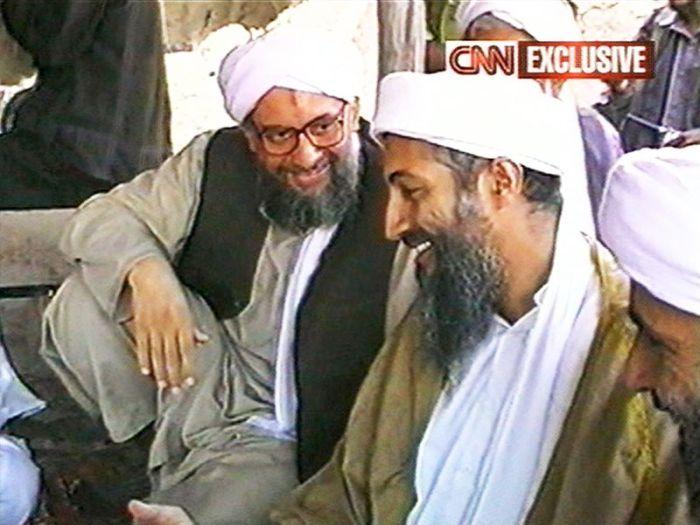 1998 CNN still of Osama bin Laden, right, along with Egyptian jihadist Ayman al-Zawahiri in Afghanistan (Photo by CNN via Getty Images)