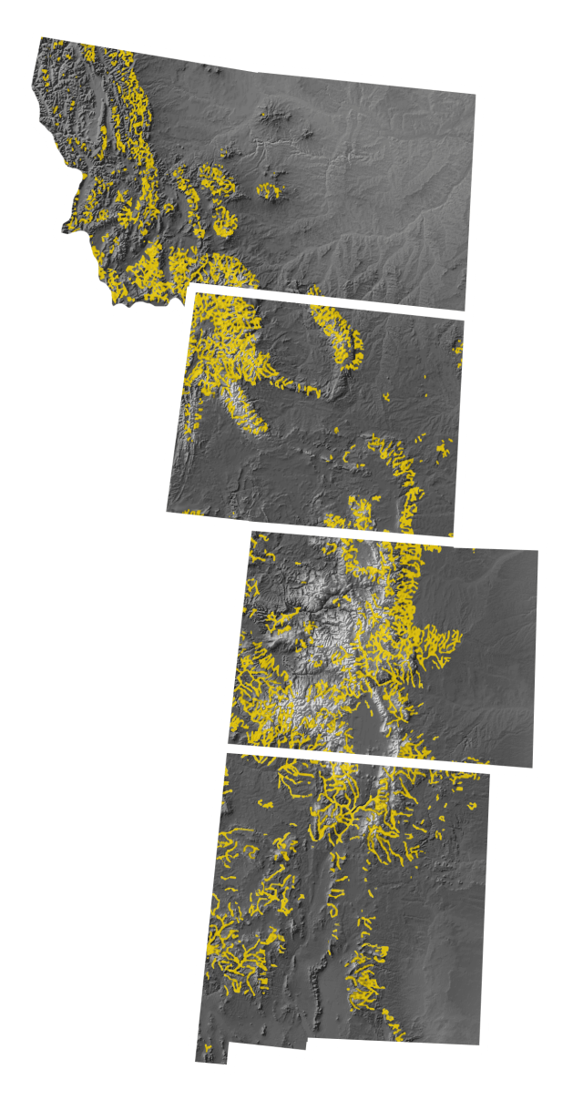 Map of Montana, Wyoming, Colorado, and modern Mexico, with areas that maintain an elevation of 5,000 and 10,200 feet highlighted, areas within 1,000 feet of a water source highlighted, and areas containing species of pine trees highlighted.
