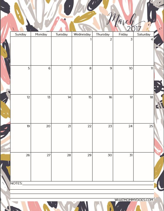 Free Printable 2017 Monthly Calendars What Mommy Does