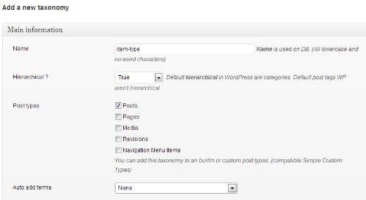 Creating a custom taxonomy in WordPress