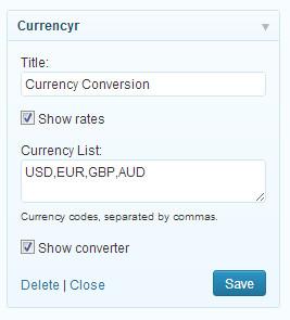 Currencyr Widget Settings