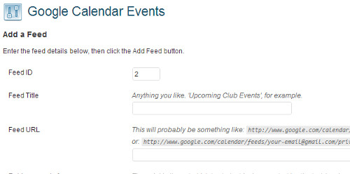 Adding Google Calendar Feed into plugin