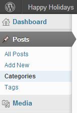 Menu danh mục dưới bài viết trong bảng điều khiển quản trị viên WordPress