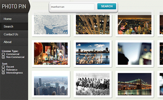 Photopin uses flickr API to help bloggers find creative commons licensed photographs