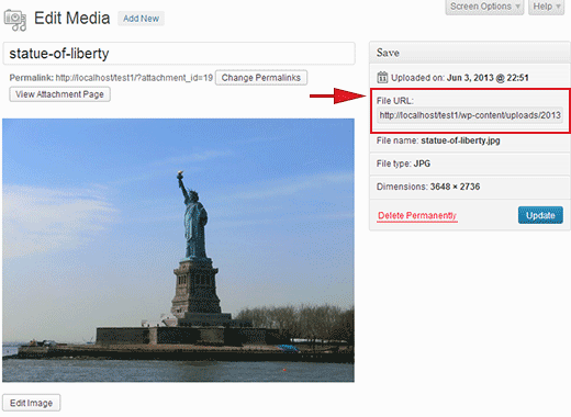 Find image URL for a file uploaded in WordPress