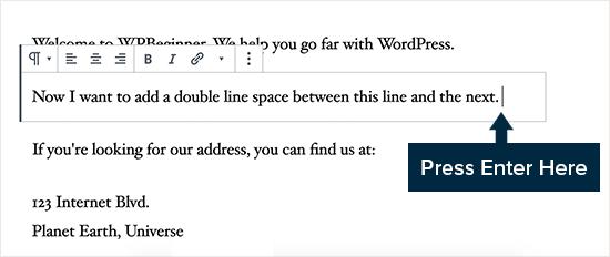 Thêm khoảng cách dòng đôi trong WordPress
