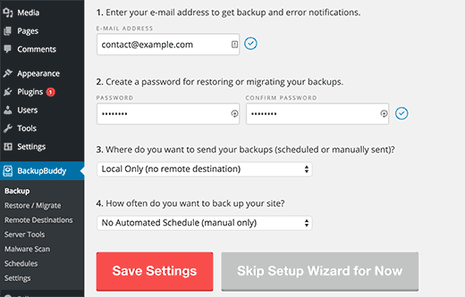 BackupBuddy Setup Wizard
