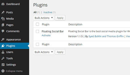 Activating a plugin for an individual site on a multisite network