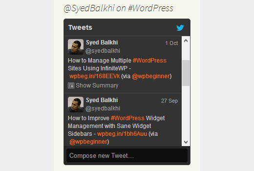 Showing selective tweets with keywords or hashtags