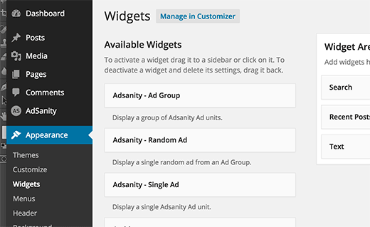 Displaying ads using Adsanity Widgets in WordPress