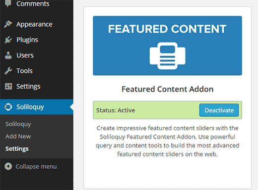 Installing and activating featured content addon