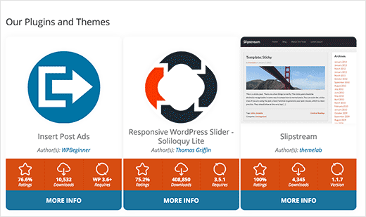 Preview of plugin and theme info cards in WordPress