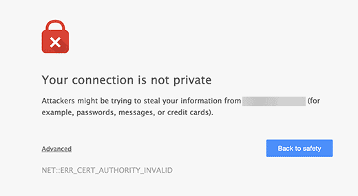 Google Chrome showing warning about an unsecure connection