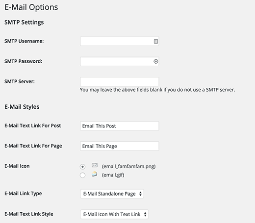 Settings page for WP-EMail