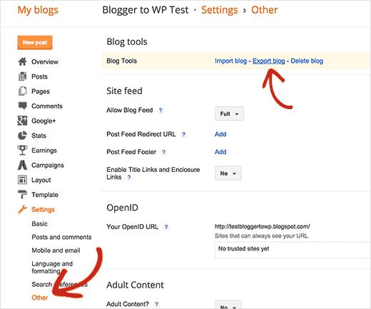 Export Blogger blog