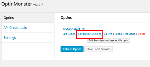 Optin output settings link