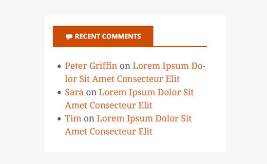 Preview of default recent comments widget