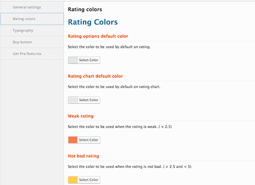 Rating colors