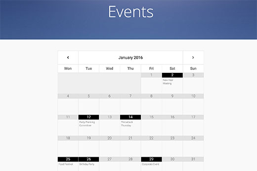 Google Calendar embedded into a WordPress page
