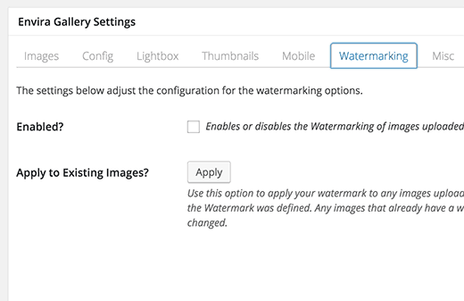 Watermarking addon in Envira Gallery plugin for WordPress