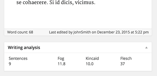 Readability analysis showing Fog, Kincaid, and Flesch reading scores