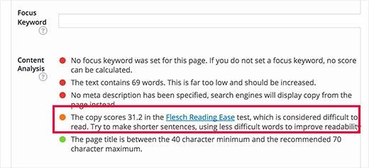 Yoast SEO showing readability score