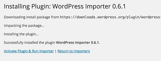 Run WordPress importer plugin