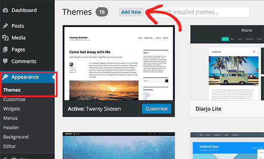 Themes page in WordPress admin area