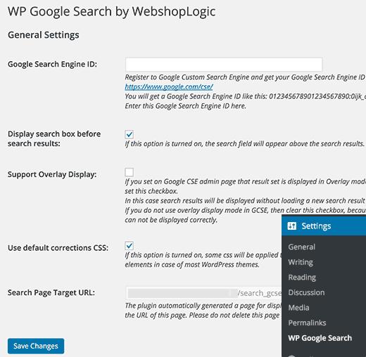 Halaman pengaturan untuk Pencarian Google WP