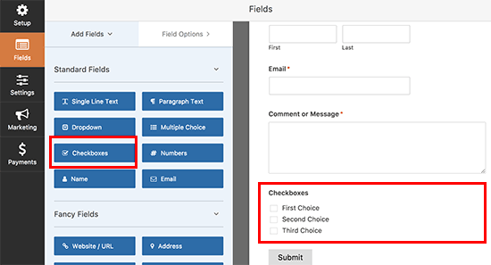 Add checkbox to your form