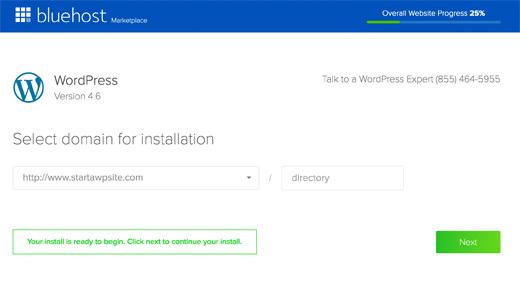 Enter your Domain Name - WordPress Setup