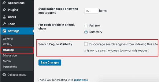 Search engine visibility settings in WordPress