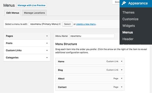 Creating and managing navigation menus in WordPress