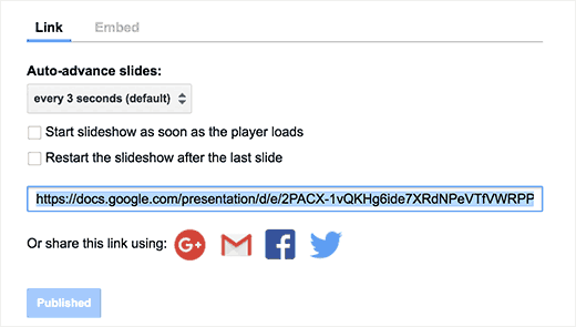 URL to share your Google Slides presentation