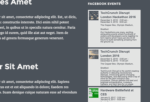 Facebook events in a WordPress sidebar widget