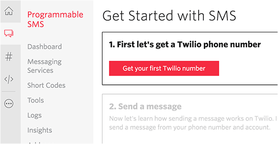 Get your Twilio number