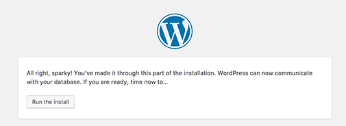 Run WordPress installation