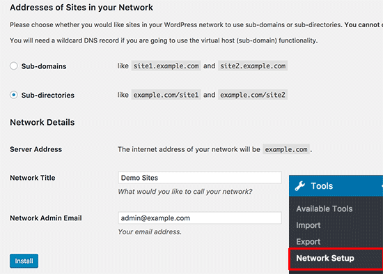 WordPress multisite network setup