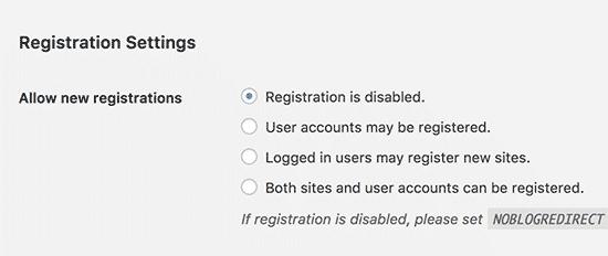 WordPress multisite registration settings