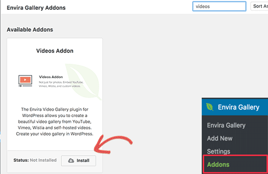 Next, you need to head over to Envira Gallery » Addons page. You'll see all the addons available for you to install. Look for the Videos addon and install it.
