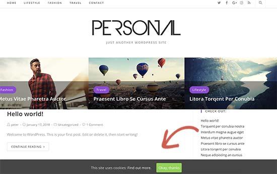 Cookie consent popup on a WordPress website