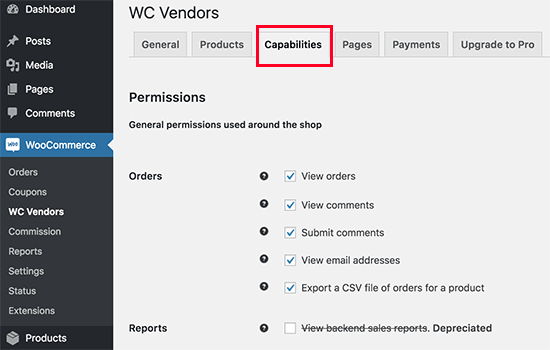 WC Vendors capabilities