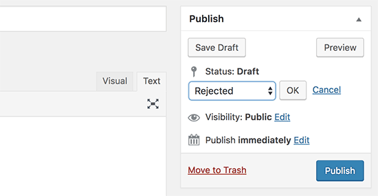 Custom post status shown in admin panel