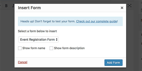 Insert event registration form