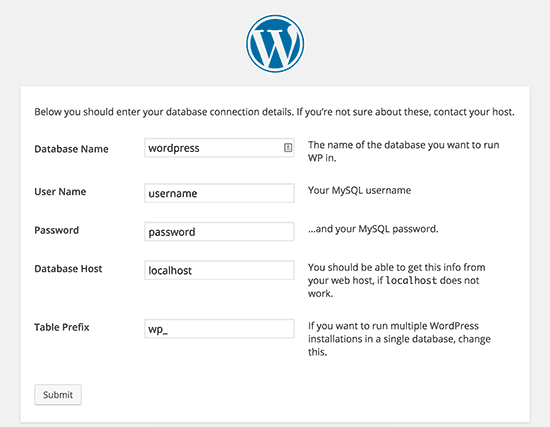 Default WordPress configuration settings