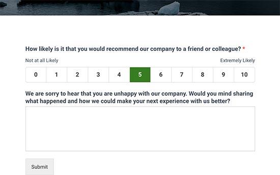 NPS survey form with feedback field