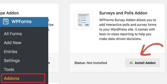 Install surveys addon